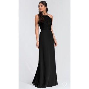 Hayley Paige Black Chiffon Bridesmaid Gown (5715)